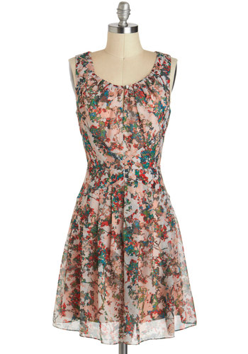 Enchant Go Wrong Dress - Mid-length, Tan, Multi, Cutout, Ruching, Daytime Party, A-line, Tank top (2 thick straps), Floral, Fairytale, Graduation