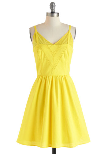 All in a Daisy's Work Dress - Sheer, Short, Yellow, Solid, Pockets, Daytime Party, Beach/Resort, Vintage Inspired, Spaghetti Straps, Summer