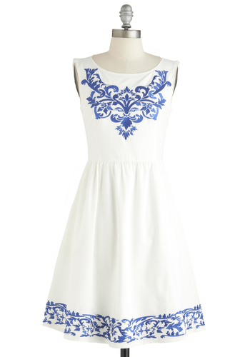 Seaside Serenade Dress - White, Blue, Embroidery, Pockets, A-line, Boat, Daytime Party, Vintage Inspired, French / Victorian, Sleeveless, Exclusives, Mid-length, Summer