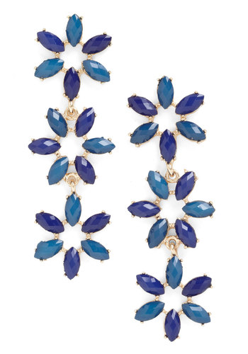 Your Best Dangle Earrings - Blue, Gold, Solid, Flower, Tiered, Party, 60s