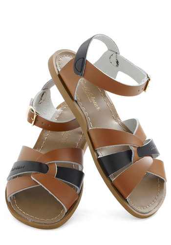 Outer Bank on It Sandal in Cafe by Salt Water Sandals - Tan, Solid, Slingback, Cutout, Leather, Black, Casual, Beach/Resort, Boho, Flat, Variation
