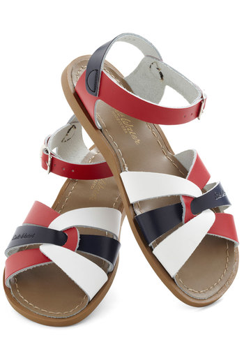 Salt Water Sandal in Parade by Salt Water Sandals - Red, Multi, Cutout, Leather, Blue, White, Casual, Beach/Resort, Nautical, Colorblocking, Flat, Variation, Summer