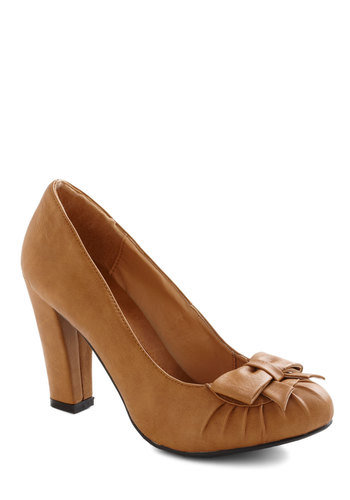Pump and Circumstance Heel - Tan, Solid, Bows, Work, High, Faux Leather, Winter