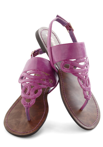 Drizzle Castle Sandal - Purple, Solid, Beach/Resort, Flat, Faux Leather, Casual, Boho, Spring, Summer