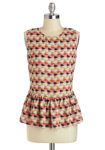 Unparalleled Poise Top - Mid-length, Multi, Red, Tan / Cream, Grey, Print, Work, Peplum, Sleeveless, Exposed zipper
