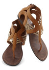 Talking Drum Sandal - Tan, Tan / Cream, Boho, Flat, Faux Leather, Braided, Cutout, Casual, Spring, Summer