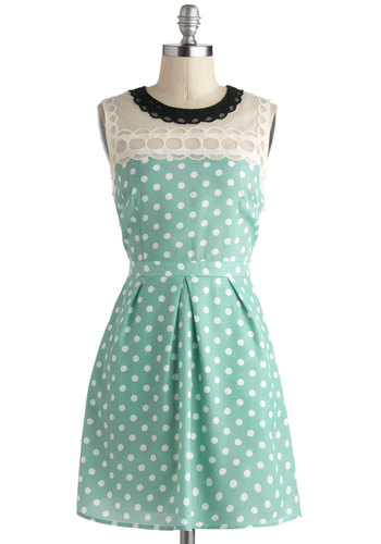 Draw a Cloud Dress - Mint, White, Polka Dots, Lace, Casual, A-line, Sleeveless, Pockets, Short, Daytime Party, Vintage Inspired, Pastel, Summer, Woven