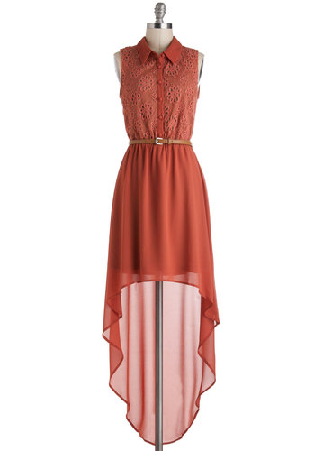 Match My Drift Dress - Orange, Solid, Buttons, Eyelet, A-line, Sheer, Mid-length, Casual, High-Low Hem, Sleeveless, Collared, Belted, Rustic
