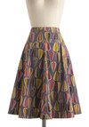 This Day And Foliage Skirt by Effie's Heart - Multi, Red, Yellow, Blue, A-line, Mid-length, Cotton, Print, Pockets, Fall