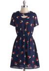 Good Wing Going Dress - Blue, Multi, Print with Animals, Peter Pan Collar, Casual, A-line, Short Sleeves, Collared, Short, Cutout, Scholastic/Collegiate