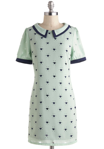 Piece Of Your Heart Dress - Mint, Print, Peter Pan Collar, Casual, Shift, Short Sleeves, Collared, Mid-length, Blue, Vintage Inspired, Valentine's