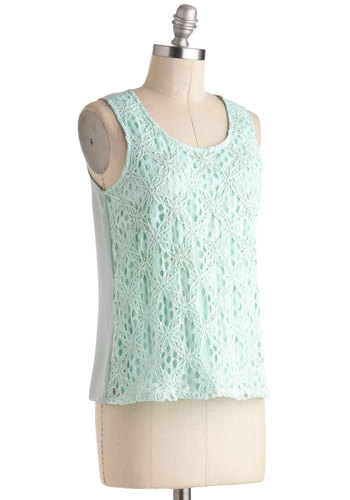 Wouldn't It Bead Lovely Top - Mid-length, Mint, Solid, Crochet, Lace, Daytime Party, Beach/Resort, Pastel, Sleeveless, Beads, Sheer, Summer