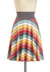 Mellow Out and About Skirt by Effie's Heart - Multi, Red, Orange, Yellow, Blue, White, Stripes, A-line, Cotton, Mid-length, Pockets, Casual