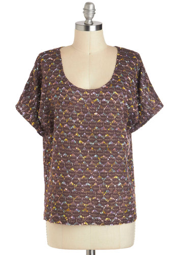 Intro to Textiles Top - Sheer, Brown, Blue, Purple, Pink, Short Sleeves, Mid-length, Casual, Scoop, Travel