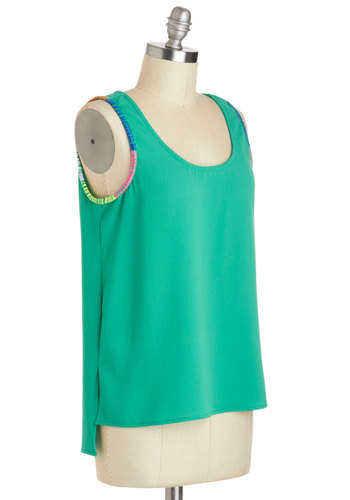 Lacing Rainbows Top - Mid-length, Green, Yellow, Blue, Pink, Solid, Casual, Beach/Resort, Sleeveless, Trim, Minimal, Summer