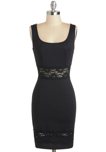 Fab Fun-raising Dress - Black, Solid, Lace, Sleeveless, Sheer, Mid-length, Exposed zipper, Girls Night Out, Bodycon / Bandage