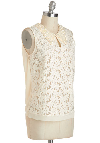 Elegant Icon Top - Cream, Embroidery, Pearls, Peter Pan Collar, Daytime Party, Vintage Inspired, Sleeveless, Collared, Chiffon, Sheer, Mid-length, Cutout, Work