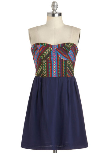 The Beautiful Outdoors Dress - Short, Blue, Multi, Casual, A-line, Strapless, Sweetheart, Print, Beach/Resort, Boho