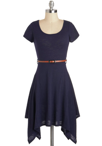 Restaurant Review Dress - Blue, Solid, Short Sleeves, Mid-length, Handkerchief, Belted, Casual, A-line, Jersey