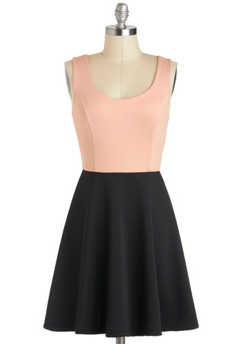 Dual Genre Dress - Short, Pink, Black, Bows, Cutout, Casual, A-line, Twofer, Tank top (2 thick straps), Backless, Scoop