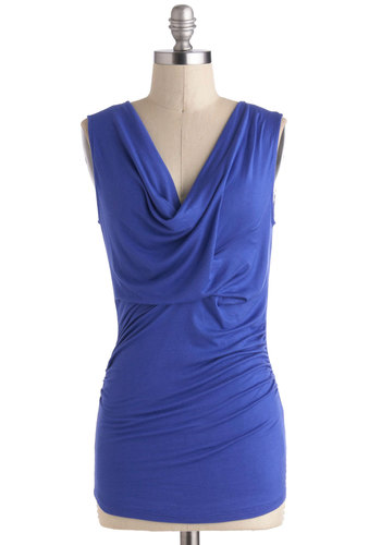Layer of Choice Top - Blue, Solid, Ruching, Sleeveless, Cowl, Mid-length