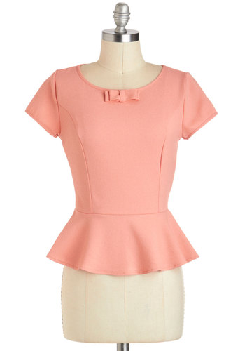 Grapefruit Mimosa Top - Mid-length, Coral, Solid, Work, Peplum, Short Sleeves, Bows, Exposed zipper, Vintage Inspired, 40s, Pastel, Pinup