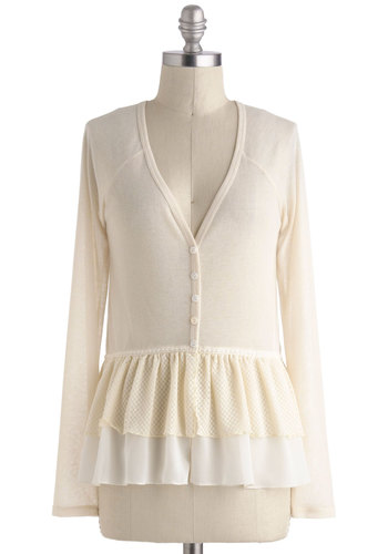 Fluttering Fabulousness Cardigan - Mid-length, Cream, Solid, Buttons, Work, Peplum, Long Sleeve, Casual, Winter