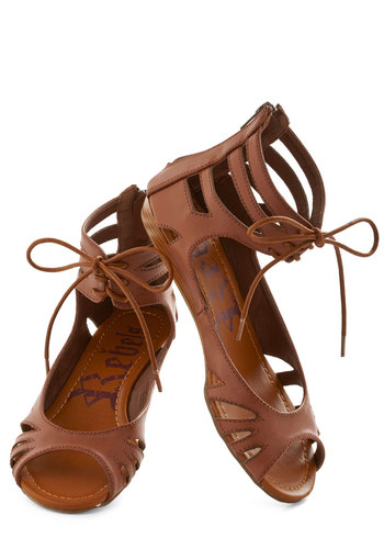 Stand By Your Mangrove Sandal - Brown, Solid, Cutout, Boho, Lace Up, Casual, Low, Faux Leather, Summer