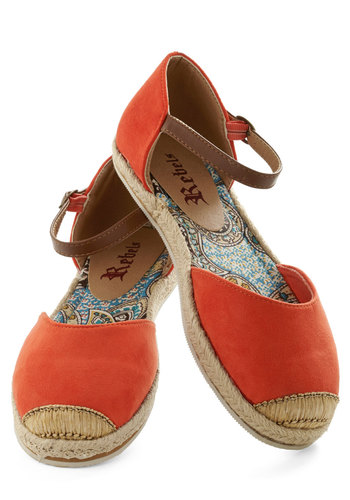 Viterbo So Beautiful Flat in Rosso - Red, Brown, Flat, Espadrille, Casual, Boho, Variation, Spring