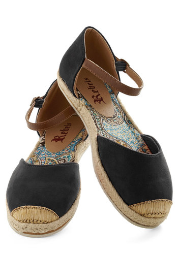 Viterbo So Beautiful Flat in Black - Black, Brown, Flat, Espadrille, Solid, Casual, Boho, Variation, Spring