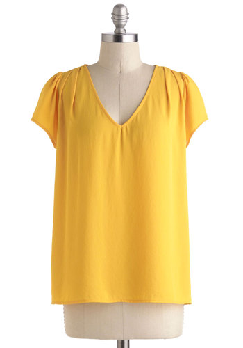 Marigold Medal Top - Yellow, Solid, Bows, Short Sleeves, Mid-length