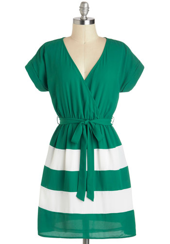 Emerald At Once Dress - Mid-length, Green, White, Stripes, Pockets, Belted, Casual, A-line, Short Sleeves, V Neck, Nautical