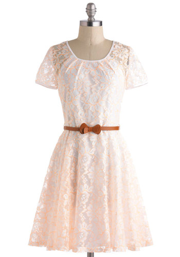 A Bright for Sore Eyes Dress - Sheer, White, Orange, Lace, Belted, Party, Fit & Flare, Short Sleeves, Graduation, Neon, Spring, Exclusives, Scoop, Mid-length