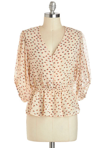 Lovely, Always Top - Sheer, Mid-length, Cream, Red, Print, Buttons, Peplum, 3/4 Sleeve, Black, Work, Valentine's, White, Tab Sleeve