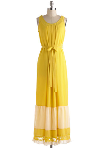 Lovely Lacewing Dress - Yellow, Tan / Cream, Crochet, Maxi, Tank top (2 thick straps), Long, Solid, Belted, Casual, Trim, Beach/Resort, Boho