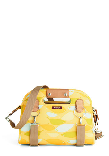 Never Leaf Home Without It Bag - Yellow, Multi, Print, Casual, Travel