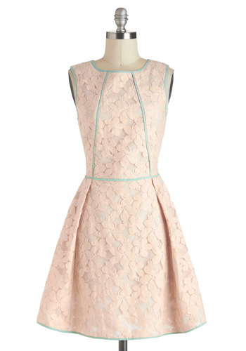 Sealed with a Hibiscus Dress - Pink, Blue, Lace, Trim, Daytime Party, Pastel, Sleeveless, Spring, Sheer, Mid-length, Solid, Fit & Flare, Graduation