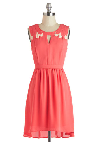 Strawberries and Cream Dress - Coral, A-line, Sleeveless, Spring, Mid-length, Tan / Cream, Solid, Cutout, Party, High-Low Hem, Daytime Party