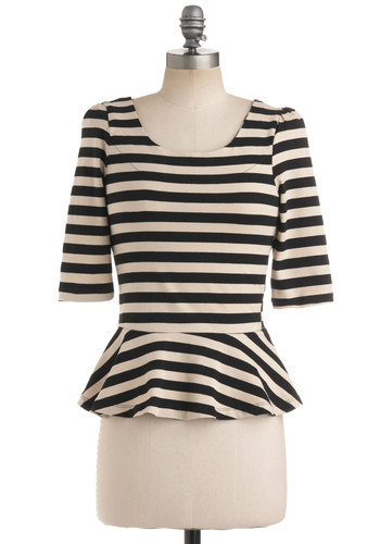 I Can Seed Clearly Top - Cream, Black, Stripes, Exposed zipper, 3/4 Sleeve, Work, Casual, Steampunk, Short, Best Seller, Black, 3/4 Sleeve