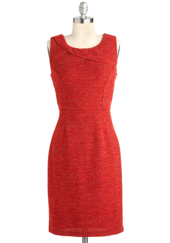 Garden Date Dress - Mid-length, Red, Solid, Exposed zipper, Work, Sheath / Shift, Sleeveless
