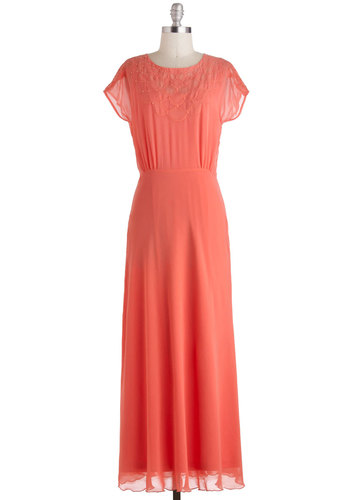 Dreaming in Coral Dress - Coral, Solid, Pearls, Cocktail, A-line, Maxi, Short Sleeves, Vintage Inspired, Wedding, Pastel, Exclusives, Long, Prom, Bridesmaid