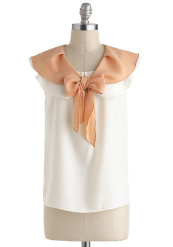 Fresh Farmstand Top - Cream, Orange, Tie Neck, Sleeveless, Sheer, Mid-length, Vintage Inspired, 30s, Pinup