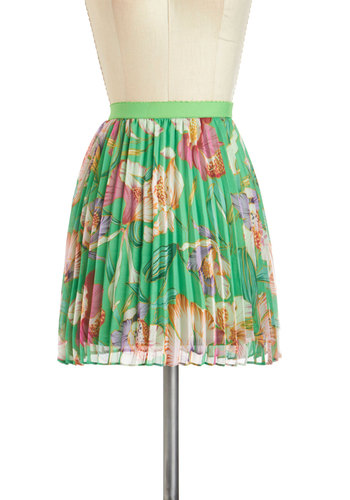 Weekday Wonderful Skirt - Green, Purple, Pink, White, Floral, Pleats, Daytime Party, A-line, Short, Spring