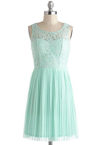 Someone from Your Pastel Dress - Mint, Solid, Lace, Pleats, Party, A-line, Tank top (2 thick straps), Short, Wedding, Fairytale, Pastel, Sheer, Bridesmaid