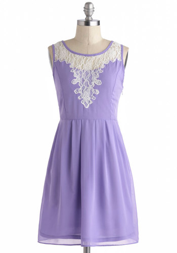 Radiant Recital Dress - Purple, White, Solid, Lace, Pleats, A-line, Tank top (2 thick straps), Sheer, Short, Daytime Party, Summer