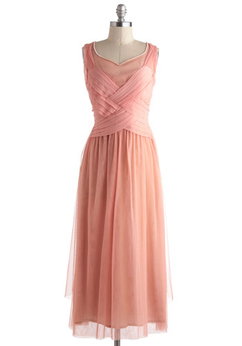 Adoringly Alluring Dress - Pink, Solid, Pearls, Cocktail, A-line, Sleeveless, Wedding, Vintage Inspired, Luxe, Fairytale, Long, Bridesmaid, Maxi