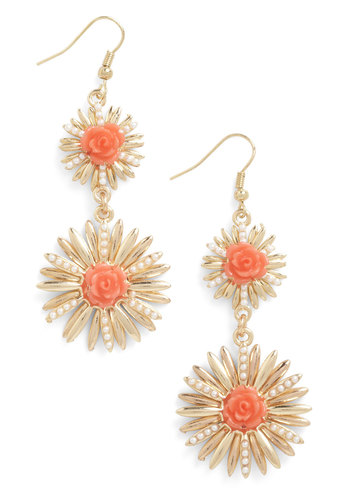 Fresh Burst Earrings - Gold, Orange, Solid, Flower, 60s, Bridesmaid