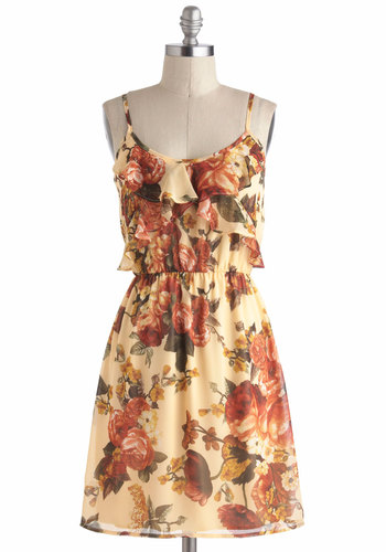 Warms Your Heart Dress - Cream, Yellow, Green, Floral, Ruffles, Spaghetti Straps, Chiffon, Mid-length, Red, Casual, A-line, Scoop, Daytime Party, Vintage Inspired, Fairytale, Spring