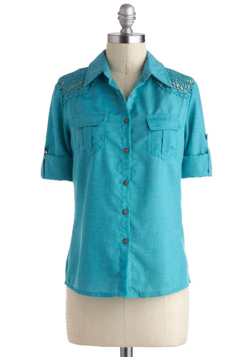 Paddle Boat Partner Top - Mid-length, Blue, Solid, Crochet, Casual, Short Sleeves, Buttons, Pockets