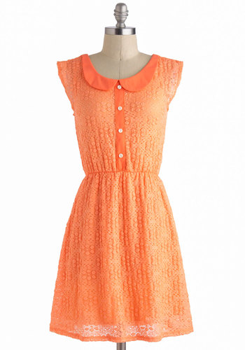 Sweet as Sherbet Dress - Short, Orange, Solid, Buttons, Eyelet, Peter Pan Collar, Casual, A-line, Cap Sleeves, Collared, Spring